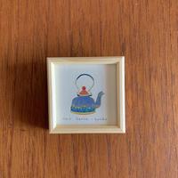 小さな版画絵ayako 「kettle」4−16 ブルー