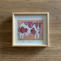 小さな版画絵ayako   「COW」122-15