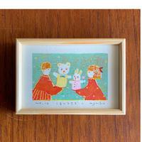 小さな版画絵ayako   「くまとうさぎ-1」  1012-10