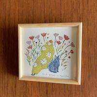 小さな版画絵ayako 「秋桜」4−11
