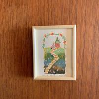 小さな版画絵ayako「丘の上」no14