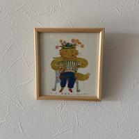 小さな版画絵ayako 「音楽家」yellow