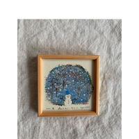 小さな版画絵ayako 「森のスノーマン」127−14