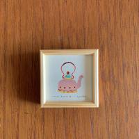 小さな版画絵ayako「kettle」4−17 ピンク