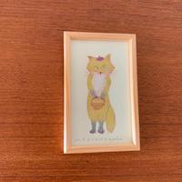 小さな版画絵ayako「 お出かけ 」yellow
