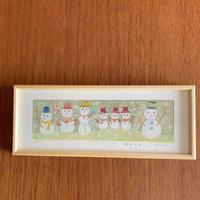 小さな版画絵ayako「雪だるま」4−1