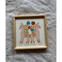 小さな版画絵ayako「Flower   Donkey-1」310-11