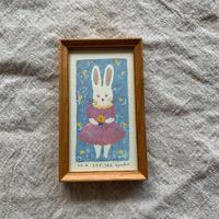 小さな版画絵ayako  「うさぎ うらら」310-5