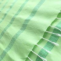 エジプト綿 & シルク 手織り大判ストール【シルクライン柄 ライムグリーン レディース】