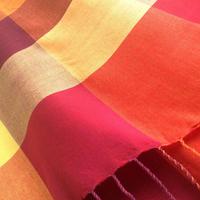 コットン & シルク 手織り大判ストール 【チェック柄 レッド & オレンジ & イエロー】