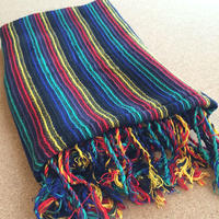コットン & シルク 手織りストール 【ストライプ柄 ブラック】