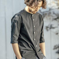 ANGENEHM(アンゲネーム)】Typewriter Stretch No Collar Half Sleeve Shirts シャツ