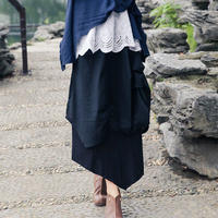 重ねデザイン 変形ロング丈スカート