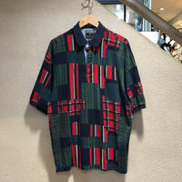 CHAPS RALPH LAUREN / 90's Vintage Printed Patch Work Polo S/S Shirt size:L