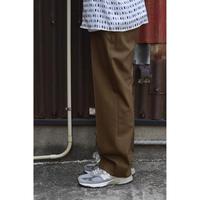 ORGANIC WOOL TROPICAL FLAT FRONT TROUSERS / KHAKI