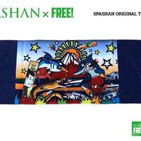 公式ステッカー付 SPASHAN スパシャンオリジナル限定デザイン タオル E  紺