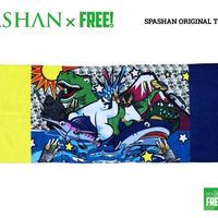 公式ステッカー付 SPASHAN スパシャンオリジナル限定デザイン タオル D  黄