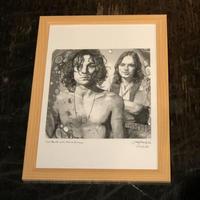 Syd Barrett with David Gilmour drawing by Jimmy Mashiko