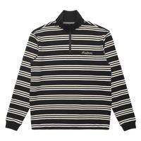 Malbon Bon Striped 1/4 Zip - Black / White