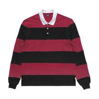 Malbon Striped Buckets Rugby Black/Maroon