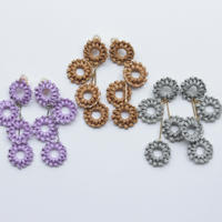 4連 circle rattan pierce lavender