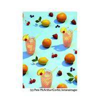 ポストカード【Oranges lemons cherries strawberries with drinks】フルーツ/ジュース/キュート/ポップ
