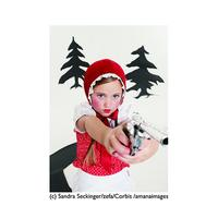 ポストカード【Little Red Riding Hood Aiming Revolver】少女/赤ずきん/ピストル/ユーモア/インパクト