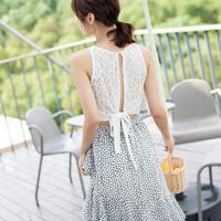 【韓国ファッション ノースリーブ】バックリボン フラワーノースリーブシャツM0006