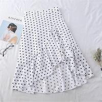 【韓国ファッション】ハイウェストドット柄ホワイトスカートO0001