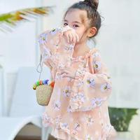 ピンク花柄ワンピース+水着set