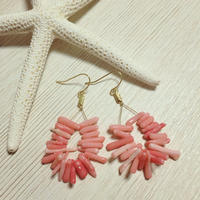 pink coral drop pierce