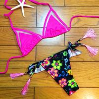 pink tassel brazilian bikini