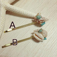 tiny shell & turquoise hair accessory