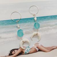 [Silver925] Sea blue chalcedony × shell