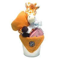 出産祝い/ふわふわブランケットとラズベリーリーフのバケツアレンジ・リボンラッピング付き(男の子用)