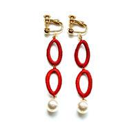 フレームイヤリング oval rings:red