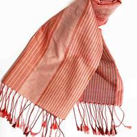 手織りスカーフ 蘇芳・インド茜