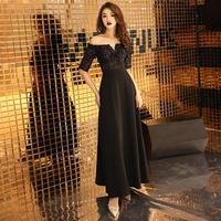 オフショル ブラック ロングドレス