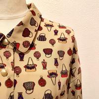 バッグ&香水瓶プリントシャツ(1980s Italy)