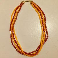 オレンジ×ブラウン4連ネックレス(1960S U.S.Aデッドストック)