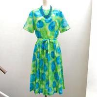 花柄半袖ワンピース(緑)(1950s U.S.A.)
