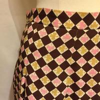 クローバー&チェックSILKスカート(1970s France)