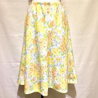 イエロー&オレンジ花柄スカート(1970s France)
