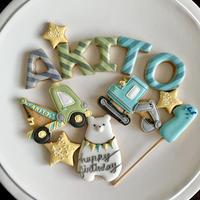 ショベルカー クレーン車 お誕生日に アイシングクッキー