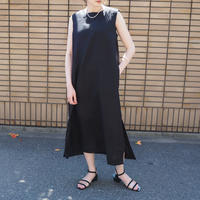 linen belted dress BLACK