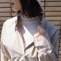 mesh color turtleneck top WHITE