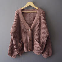 volume knit cardigan with buttons COCOA