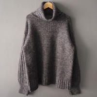 ribbed sleeve turtleneck sweater GRAY