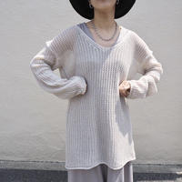 low gauge knit top BEIGE