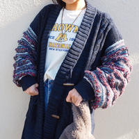 jacquard sleeve long cardigan DARK NAVY